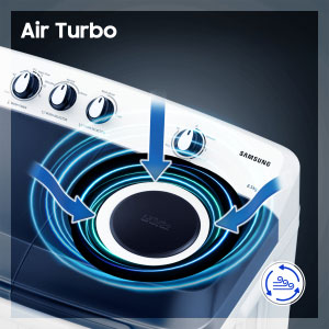 The brand-new models of Samsung top-loaders present an Air Turbo technology that helps quick drying your laundry. This technology creates a whirlwind of drying power by drawing air via dual vents making the drum spin fast in order to soak and remove excess moisture from your clothes.